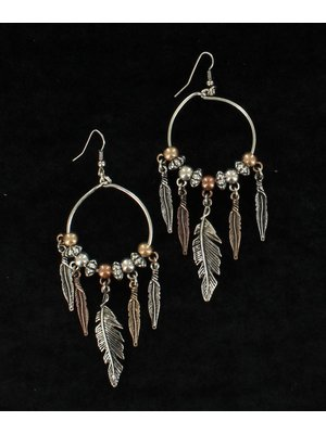 Feather Drop Hoop Earring