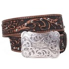 3D Belt Company Women's Tooled Belt with Buckle A3694