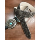 3D Belt Company Women's Floral Grey Belt with Buckle A3765