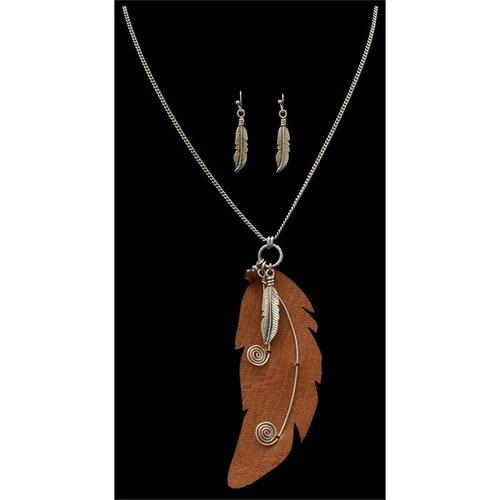 3D Belt Company Feather Earring & Necklace Set ne12453