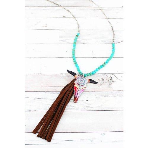 Vintage Steer Head Tassel Necklace Set