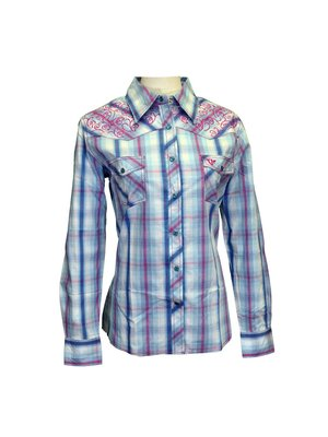 Cowboy Hardware Cowgirl Plaid White/Navy/Pink