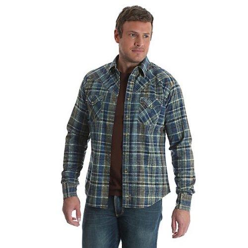 Wrangler Retro Blue/Green Plaid Western Shirt MVR382M