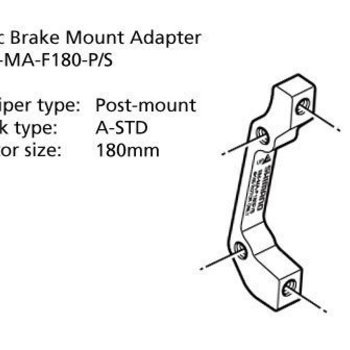 Shimano SM-MA-R180-PS ADAPTER 180mm CALIPER: POST MOUNT: A-STD REAR