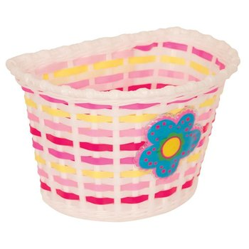 Pacific Kids Bitz Kiddies Basket White with Blue Flower and Pink/Yellow Weave