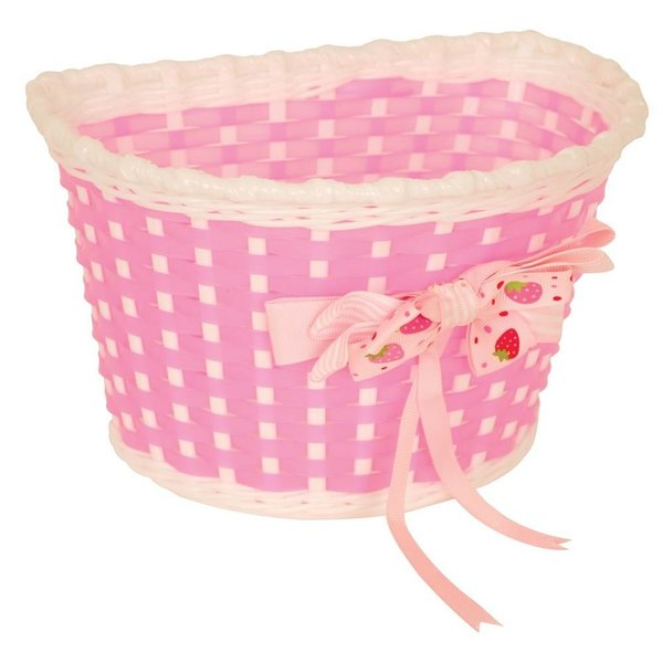 Pacific Kids Bitz Kiddies Basket Pink and White with Strawberry Bow