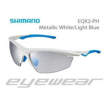Shimano CE-EQX2-PH Sunglasses Metallic White/Light Blue Photochromic Grey