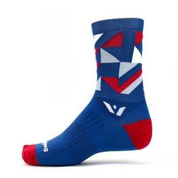 Swiftwick VISION FIVE GEO Socks Navy/Red/Grey L/XL