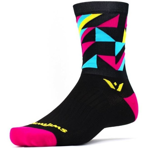 Swiftwick VISION FIVE GEO Socks Yellow/Pink/Blue L/XL