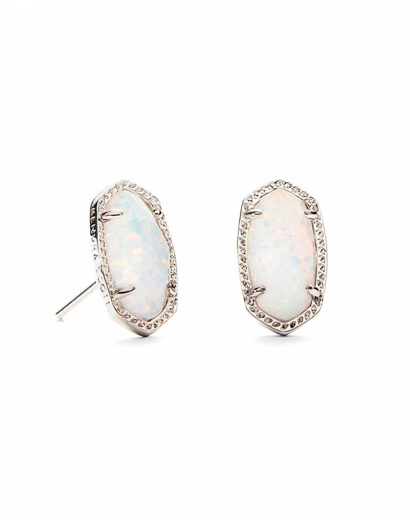 Kendra Scott Ellie Stud Earrings In White Opal On Silver