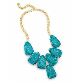 Kendra Scott Harlow Statement Necklace in Bronze Veined Turquoise