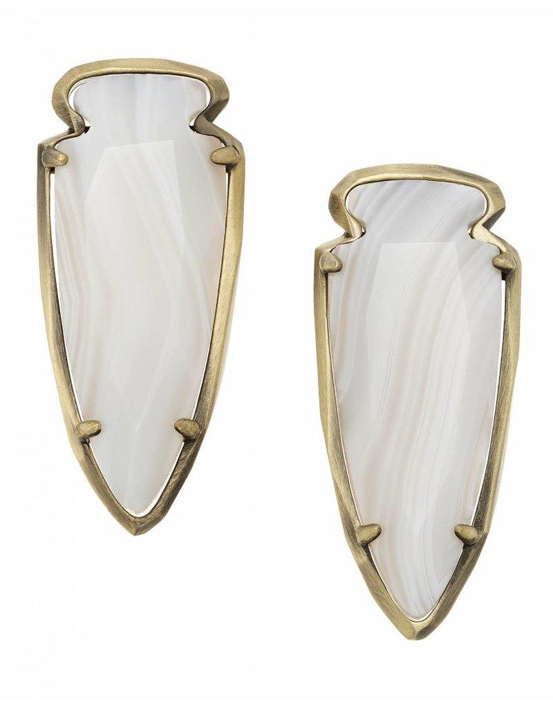 Kendra Scott Kendra Scott Kathryn Statement Earrings in White Banded Agate