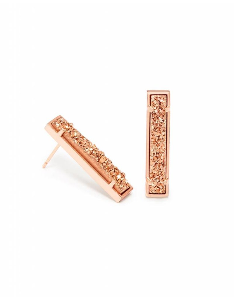 Kendra Scott Kendra Scott Levi Bar Stud Earirngs in Rose Gold Drusy