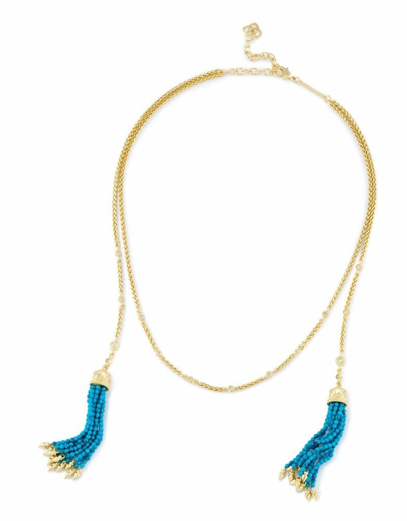 Kendra Scott Kendra Scott Monique Lariat Necklace in Bronze Veined Turquoise