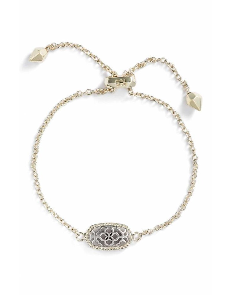Kendra Scott Kendra Scott Elaina Adjustable Bracelet in Silver Filigree on Gold