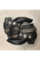 Liberty Black Black Stone Washed Studded Strap Ankle Boots