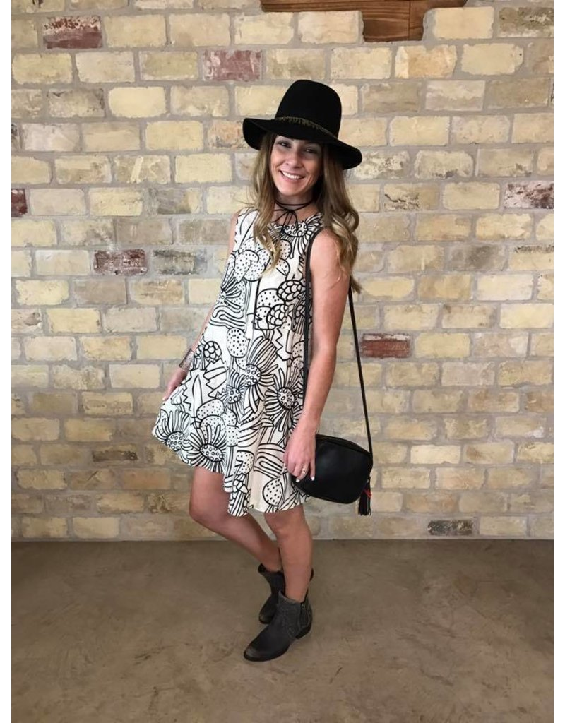 Cousin Earl Black and White Print Dress