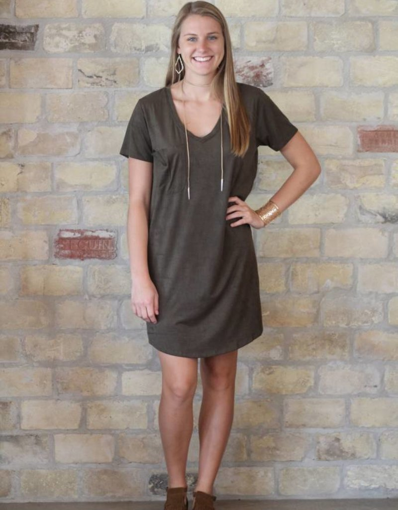 Z Supply Faux Suede Dress in Rosin