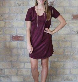 Z Supply Faux Suede Dress in Burgundy