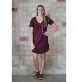 Z Supply Faux Suede Dress in Burgundy