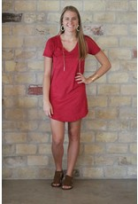 Z Supply Faux Suede Dress in Dark Ruby