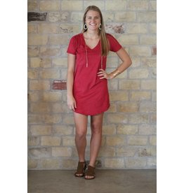 Z Supply Faux Suede Dress in Dark Ruby