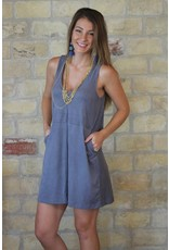 Z Supply Faux Suede V-Neck Dress in Gray Stone