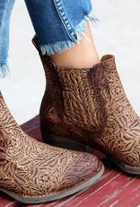 Brown Engraved & Laces Ankle Boots- Q5004