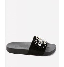 Bebe Fenix Black Velvet Slides