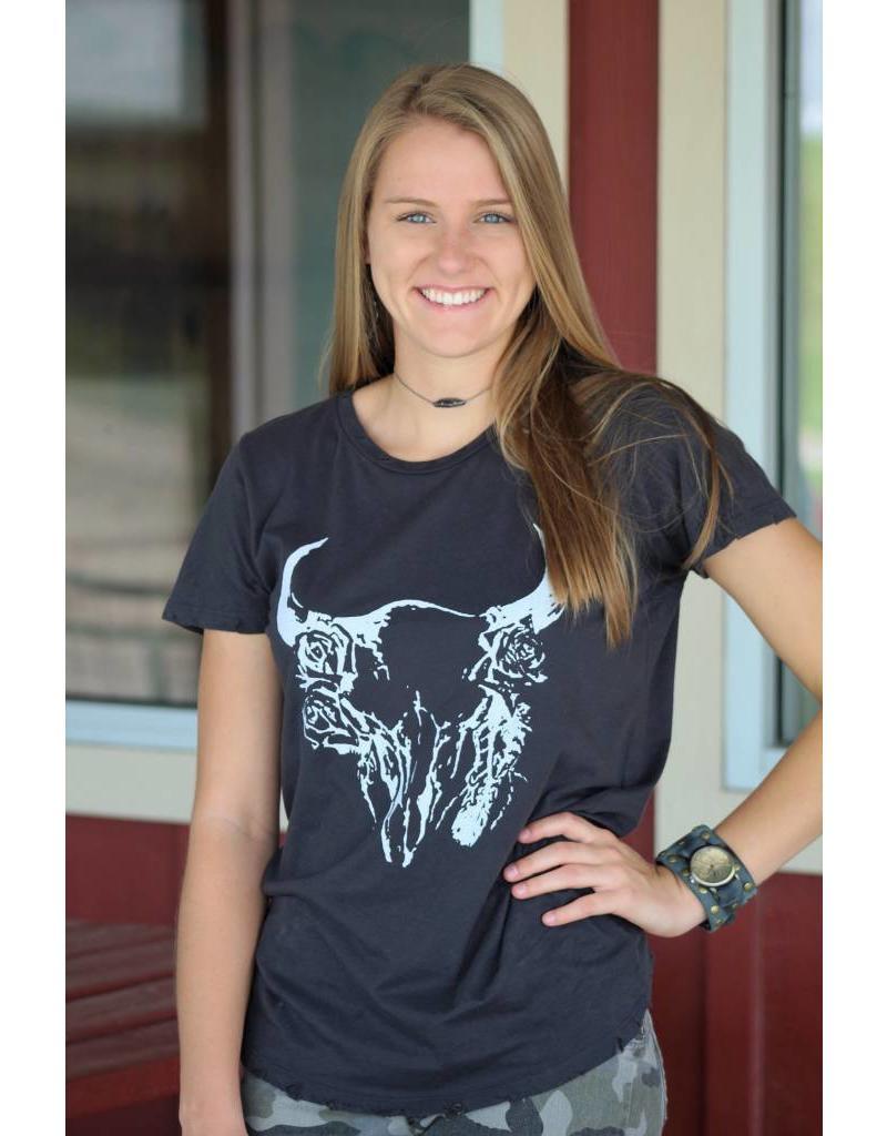 Rose Cow Skull Tee in Black