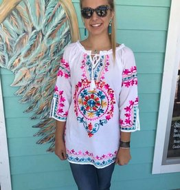 3/4 Sleeve Embroidered Top in White