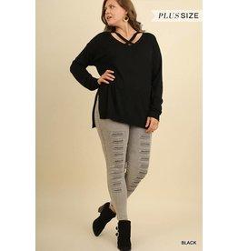 Black Criss Cross Sweater+
