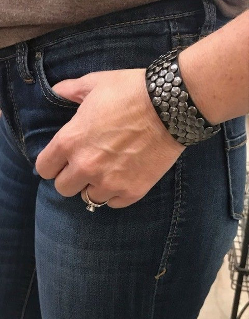 Black Leather Studded Bracelet