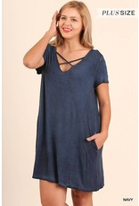 Navy Crossed V-Neck Dress