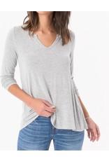 Z Supply Sleek Jersey Split Neck L/S Heather Gray