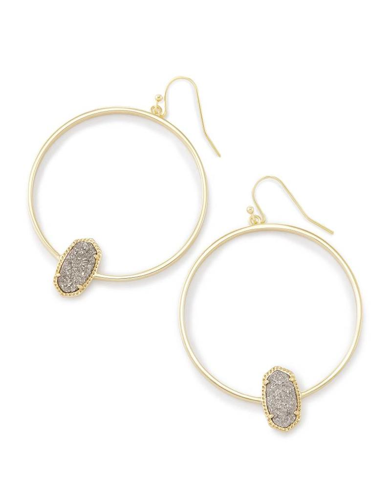 Kendra Scott Kendra Scott Elora Hoop Earrings Platinum Drusy on Gold