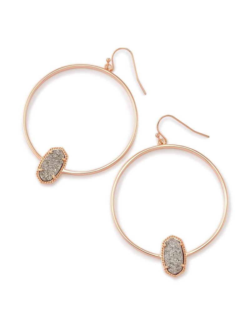 Kendra Scott Kendra Scott Elora Hoop Earrings Platinum Drusy on Rose Gold