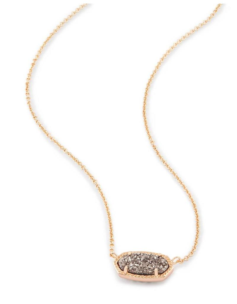 Kendra Scott Kendra Scott Elisa Necklace Plat Drusy on Rose Gold