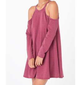Z Supply Z Supply L/S Cold Shoulder Dress Dark Ruby