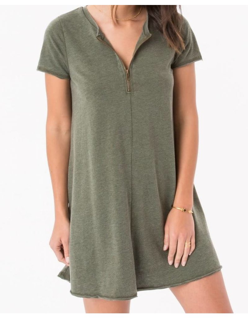 Zsupply Front Zip Swing Dress in Rosin/Olive