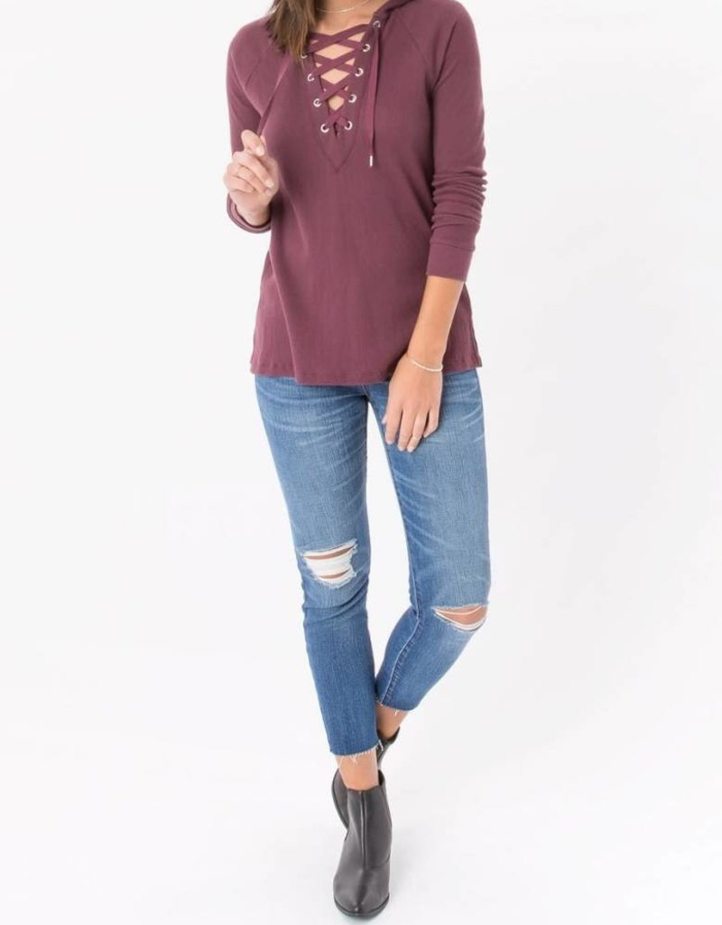 Z Supply Thermal Lace Up in Wine