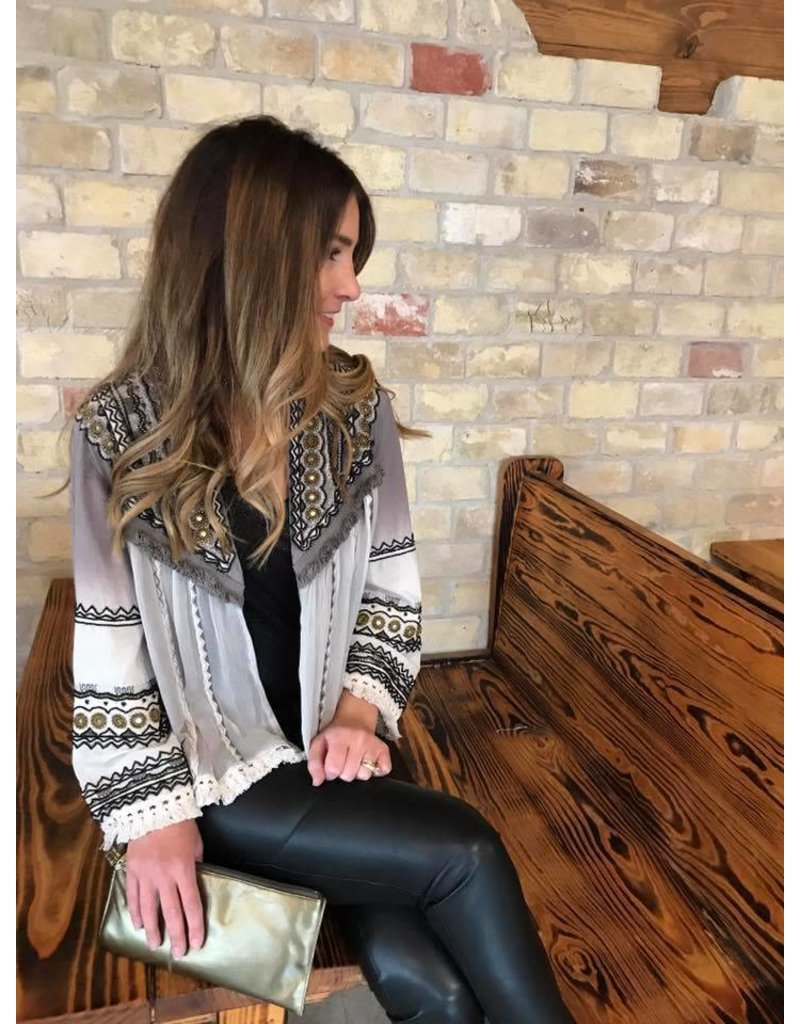 Embellished Jacket Print Gray