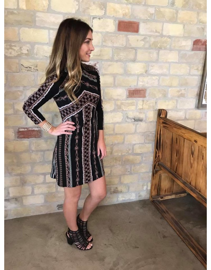 Free People Mini Stella Knit Dress Black