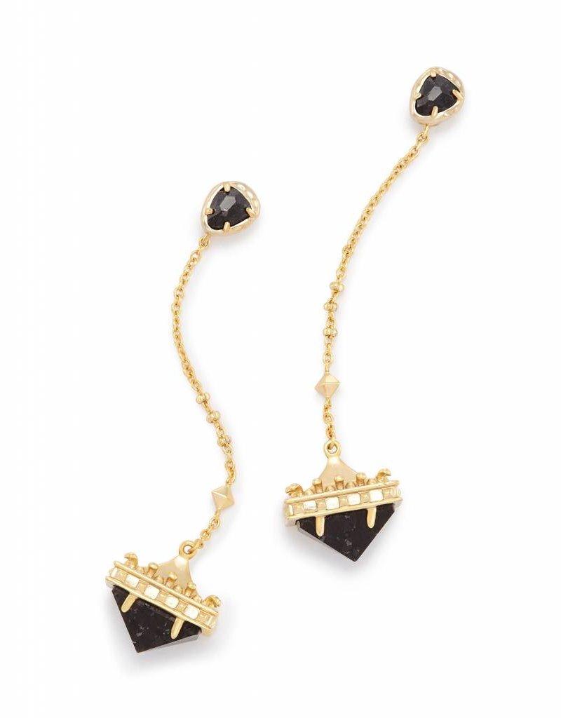 Kendra Scott Gigi Earrings in Black Granite on Gold