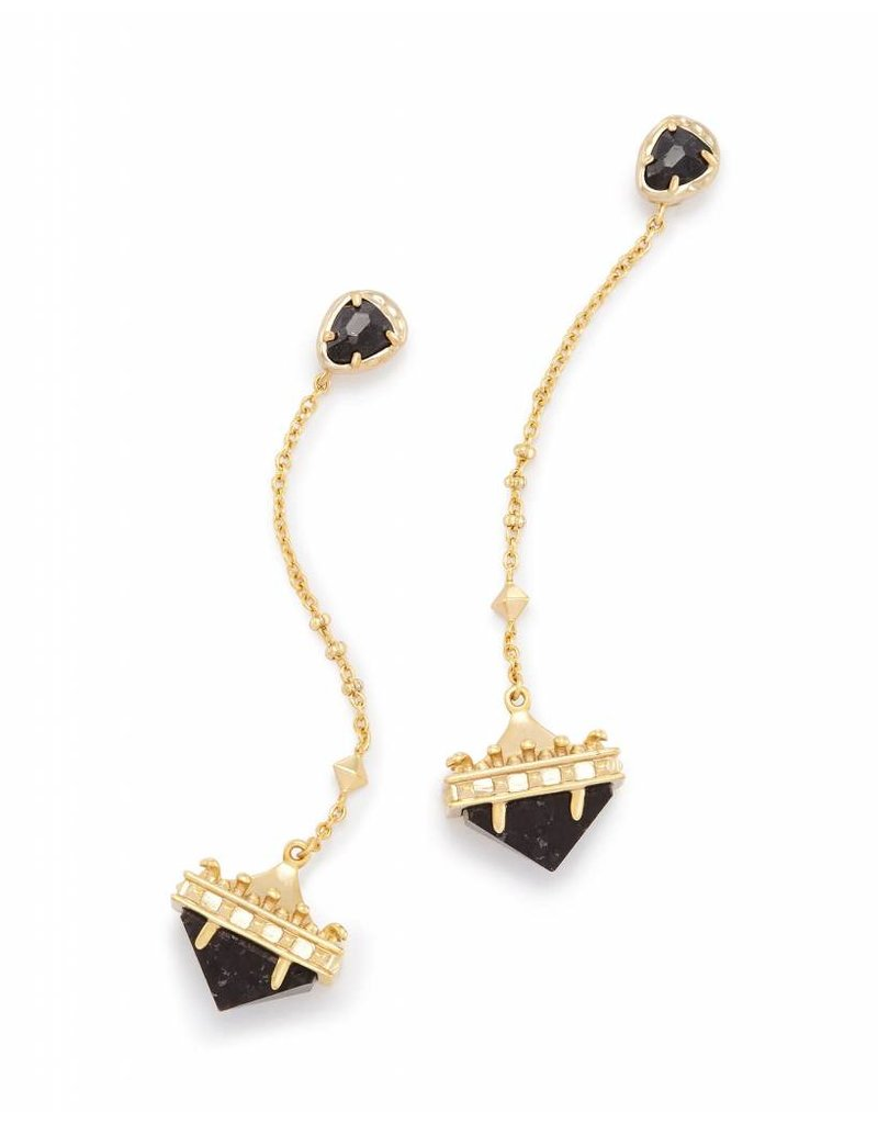 Kendra Scott Gigi Earrings in Black Granite on Gold