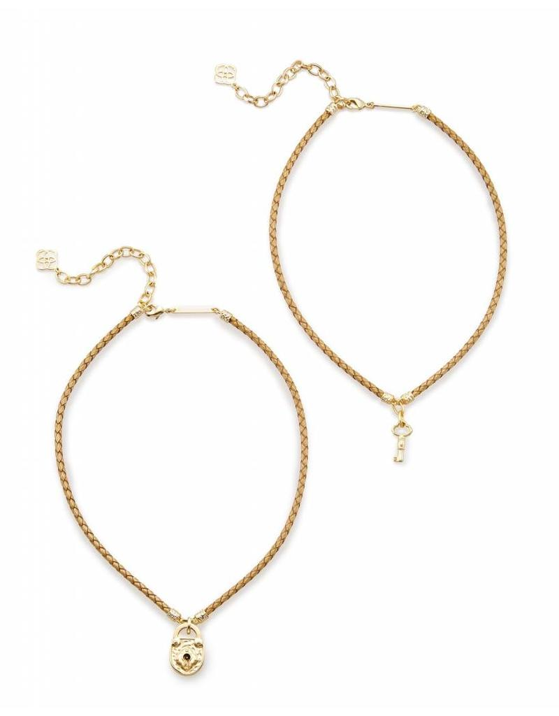 Kendra Scott Kendra Scott Sunny Necklace in Metallic Gold Leather