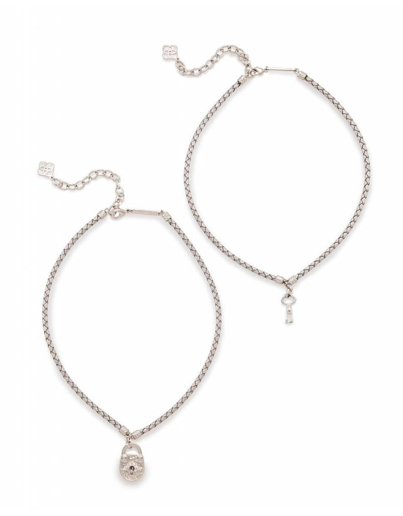Kendra Scott Kendra Scott Sunny Necklace in Metallic Silver Leather
