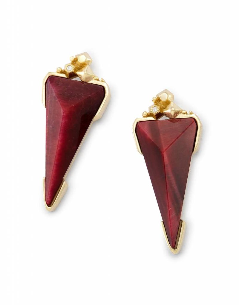Kendra Scott Kendra Scott Gold Libby Earrings in Bordeaux Tiger's Eye