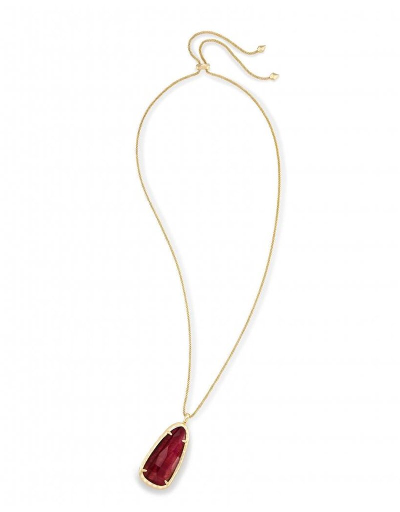 Kendra Scott Gold Saylor Necklace in Bordeaux Tiger's Eye