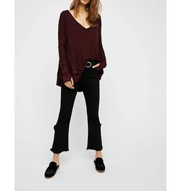 Free People Wine Thermal L/S shirt
